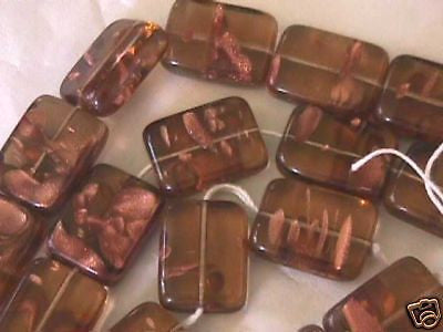 Big Topaz Copper Czech Rectangle Block Beads 18mm 6pc