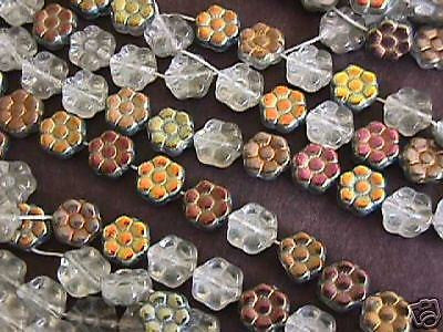 Silver Vitrial Rainbow Czech Flower Beads 8mm 16'' Str