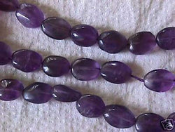 Natural Purple Amethyst Flat Oval Beads 10mm x 8mm 16""