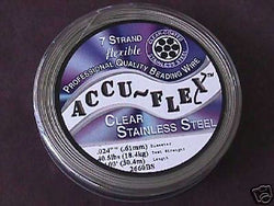 Accu Flex 7 strand Clear .024  Beading Wire 100ft