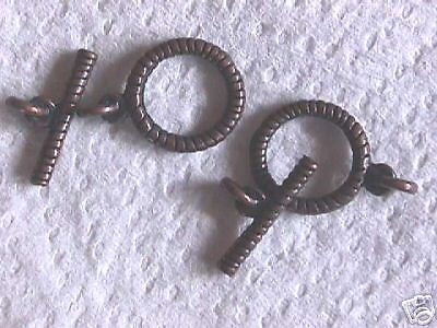 Antique Copper Plate 15mm Spiral Toggle Clasp 2 sets