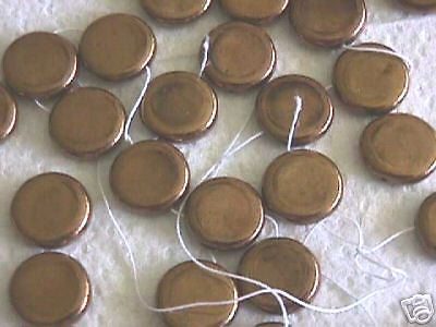 Bronze Gold Shiny Metallic 15mm Czech Coin Disk Beads