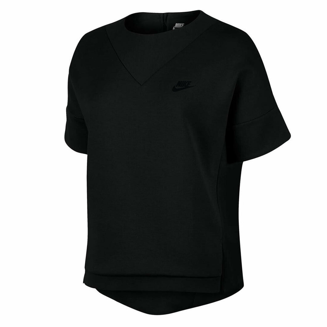 Nike Women's Short Sleeve Tech Fleece Crew Sweatshirt 3mm - Black/Black