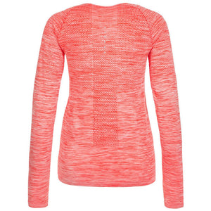 NIKE WOMENS DRI-FIT KNIT LONG SLEEVE RUNNING TOP T-SHIRT ORANGE HEATHER SIZE S L