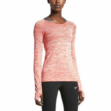Load image into Gallery viewer, NIKE WOMENS DRI-FIT KNIT LONG SLEEVE RUNNING TOP T-SHIRT ORANGE HEATHER SIZE S L