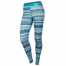 Load image into Gallery viewer, Nike Women's Pro Warm 8-Bit Running Tights - Blue Lagoon/Black-White