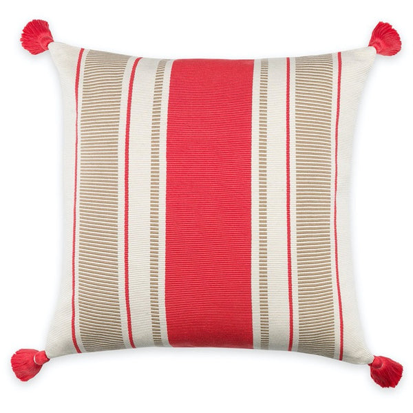 PILLOW IN CABANA STRIPE - CORAL/CAMEL