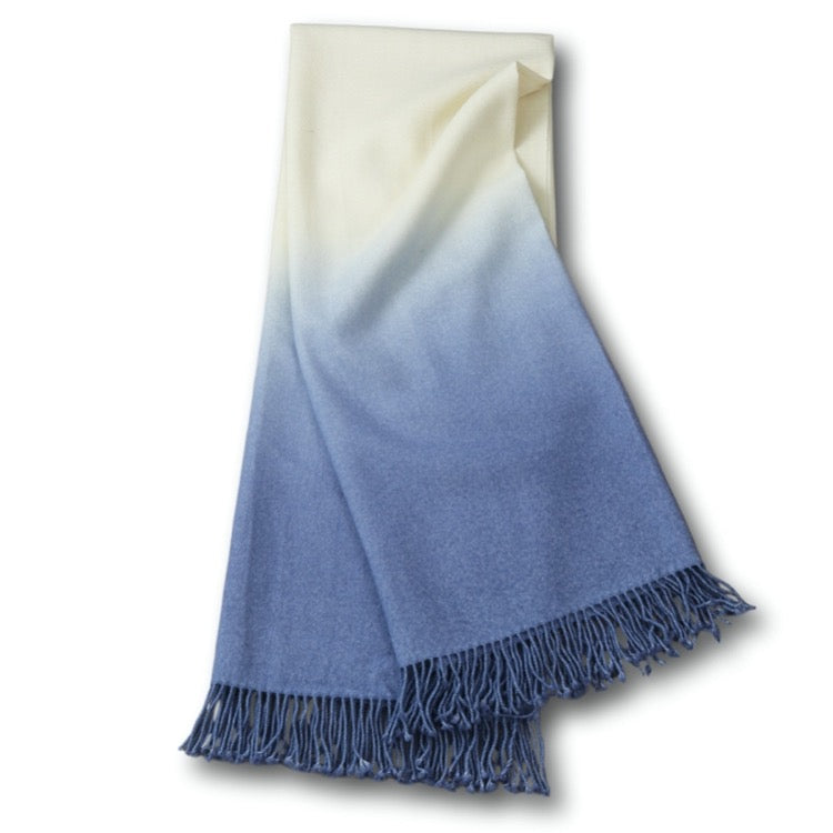 DIP-DYED THROW - PERIWINKLE