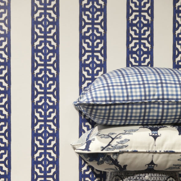 CHINOISERIE STRIPE IN PRESTONFIELD BLUE - WALLCOVERING