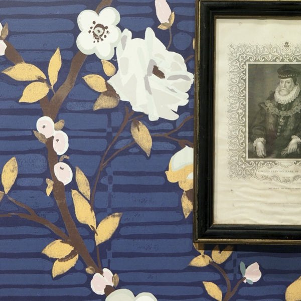 CAMILLE FLORAL IN MIDNIGHT - WALLCOVERING