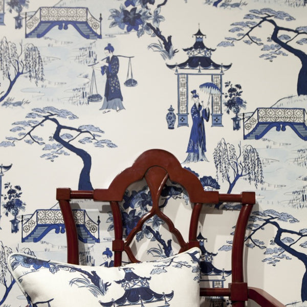 CORDELIA PARK TOILE IN INK - WALLCOVERING