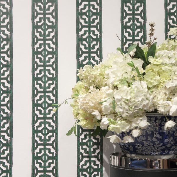 CHINOISERIE STRIPE IN EMERALD GREEN - WALLCOVERING