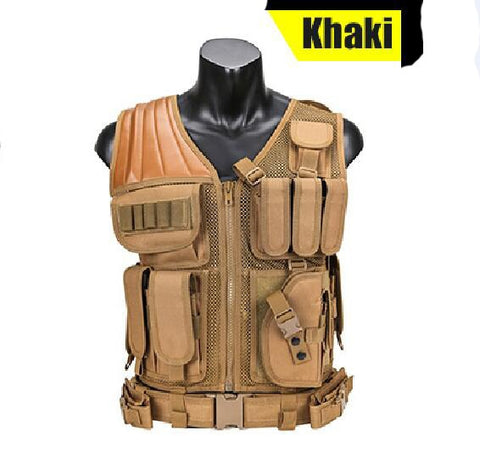 Khaki Military Tactical Hunting Vest With Holster