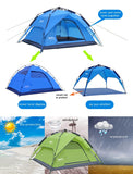 Automatic Camping Tent 3-4 Person Family Tent Double Layer- Instant set up - camping Victorious