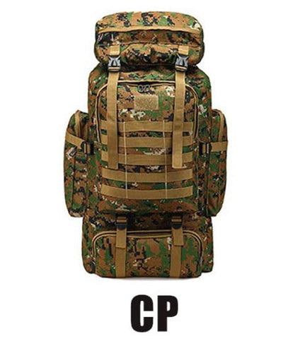 CP 80L Waterproof Molle Camo Tactical Outdoor hiking camping Backpack