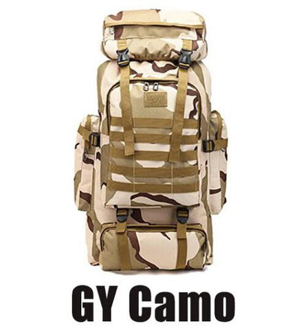 GY Camo 80L Waterproof Molle Camo Tactical Outdoor hiking camping Backpack - hiking Victorious