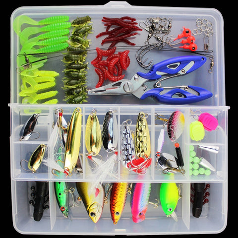 101pcs Lure Kit Set Spinner Crankbait Minnow Popper VIB Soft Hard Spoon Crank Baits Tackle box -