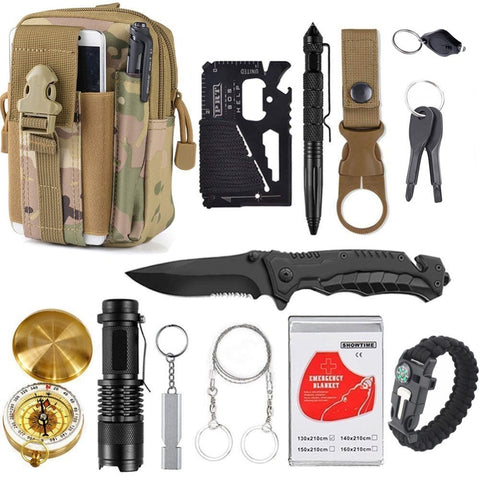 13 in 1 survival Gear kit Set Outdoor Camping Travel Survival kit
