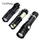 LED Flashlight 2000LM Q5 Mini LED Flashlight COB Torch AA/14500 Adjustable Zoom Focus - hiking