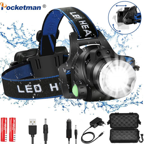 Headlamps 6000lumens Led Headlamp L2/T6 Zoomable - hiking Victorious Active