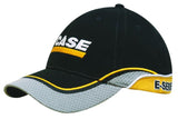 Brushed Heavy Cotton Cap with Mesh Peak and Crown Indent, Embroidered Trim and Piping