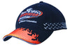 Brushed Heavy Cotton Cap with Flame Embroidery on Peak & Side Flag Embroidery