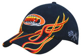 Brushed Heavy Cotton Cap with Flame Embroidered