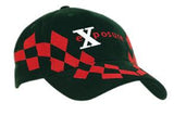 Brushed Heavy Cotton Cap with V Checked Embroidery