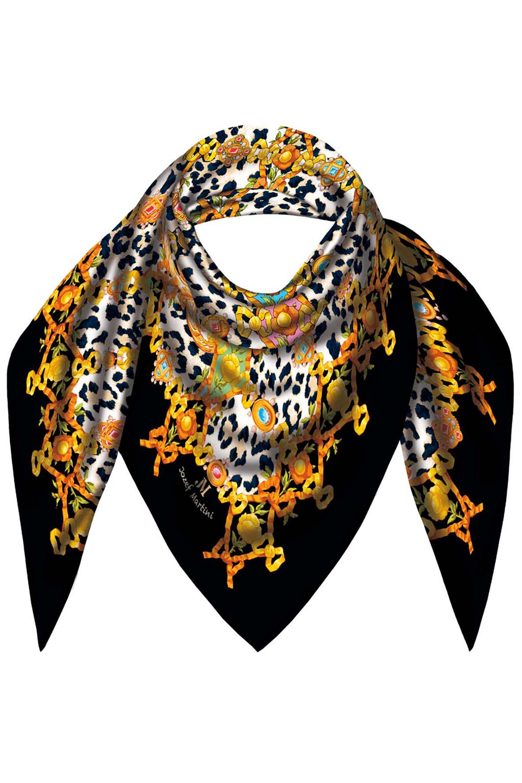 FOULARD 90 JEWELRY RIBBONS ANIMALIERE JM PRINT SILK