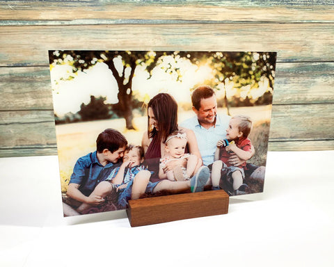 Personalized Picture Desk Display Printed on Premium Clear Acrylic Glass With Wood Base Holder Office Decor Unique Office Decor