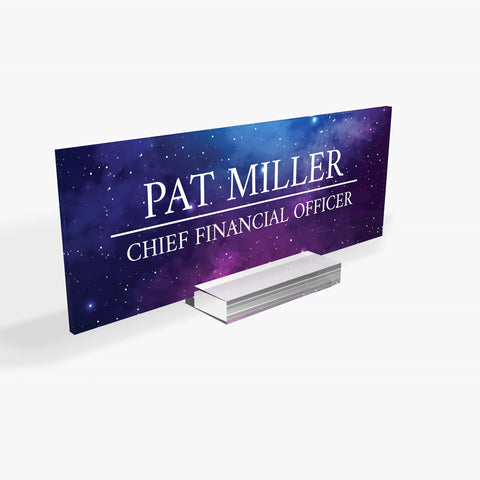 Executive Personalised Desk Name Plate, Custom Engraved Sign, Office Plaque , Galaxy , Rose , Sky