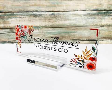 "Personalized name plate for desk Nameplate sign Modern office business decor Executive desk name plate Desk nameOrchid Flower Floral (8""x3"")"