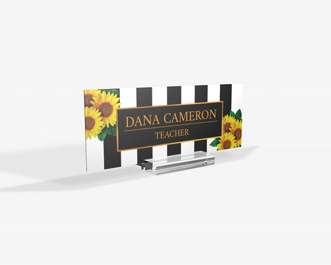 Personalized Strip line Sunflowers Name Plate for Desk | Custom Office Decor Nameplate | Personalized Gift | Custom Gift | Orchid | Flower