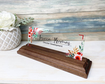 "Personalized Deskl name plate for women decor sign modern office business and teacher name plate gifts for women - (8""x3"") - Flower"