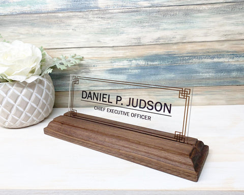 "Desk Name Plate Personalized | Custom Name Plates | Name plate Men | Desk Office | Office Men Sign | Name plaque Men | Men gift - (8""x3"")"