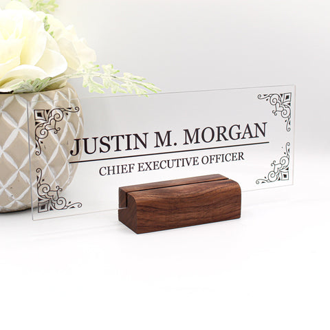 "Desk Name Plate Office Supply Personalized Secretary Sign Gift Custom Nurses Teacher friend special Wood Men Gift (8""x3"")"