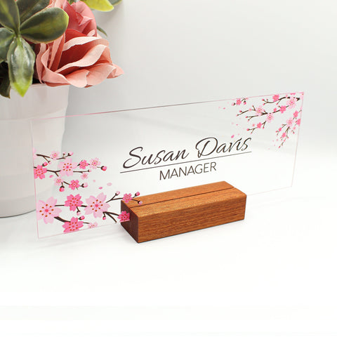 "Personalized Desk name plate for women decor sign modern office business and teacher name plate gifts for women - (8""x3"") - Flower Pink"