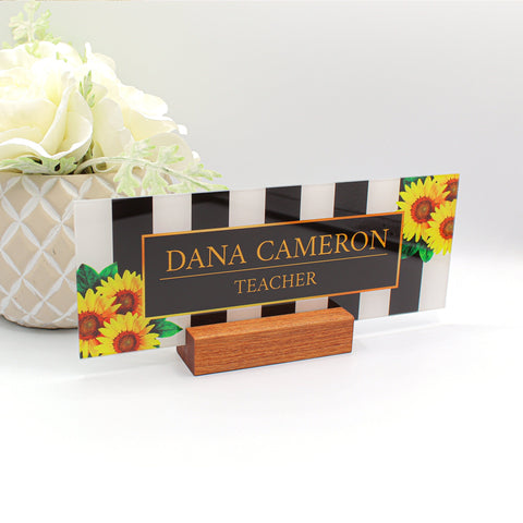 name plates for desks, desk name plate, nameplate on desk, name plate personalized, desk name plate for office, desktop nameplate Sunflowers