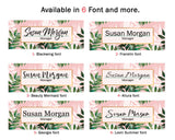 "Name Plate for Desk office Decor Nameplate Personalized Gift for her Custom Gift Flower Stylish Leaves Tropical watercolor 8""x2.5"""