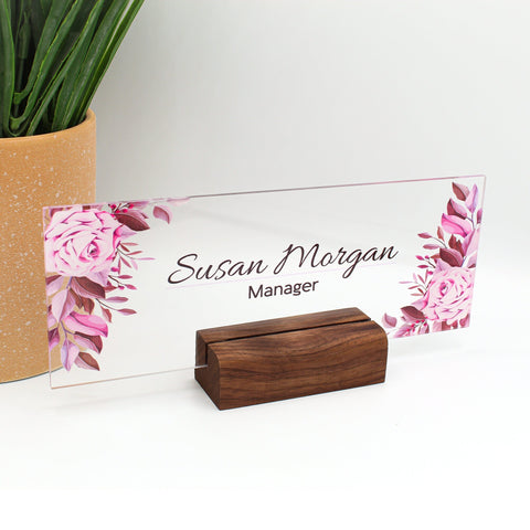 "Desk Name Plate Office Supply Personalized Secretary Sign Gift Custom Professional Wood Office Sign 8""x3"""