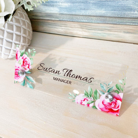 "Desk Name Plate Office Supply Personalized Secretary Sign Gift Custom Professional Wood Office Sign Pink Rose floral flowers (8""x3"")"