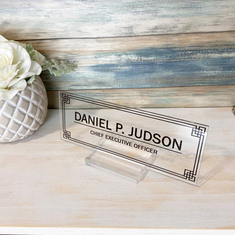 "Desk Name Plate Personalized Men Gift Custom Name Plates Men Desk Office Men Sign Name plaque Men gift decor - (8""x3"")"