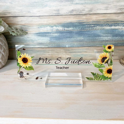 "Personalized name plate for desk Nameplate sign Modern office business decor Executive desk name plate Desk name Sunflower Floral (8""x3"")"