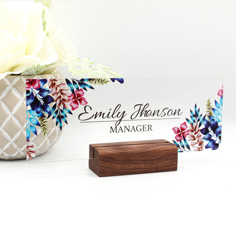 "Desk Name Plate Office Supply Personalized Secretary Sign Gift Custom Nurses Teacher friend school Wood Rose floral flowers (8""x3"")"