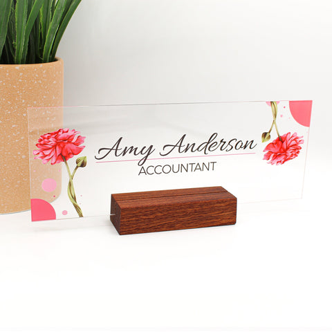 "Personalized desk nameplate desk decor wood base holder office supply acrylic sign coworker gift teacher secretary flower floral (8""x3"")"