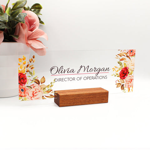 "Custom Name Desk Plate | Personalized Name Plate | Choose Your Font and Design - (8""x3"") - Peony Flower"