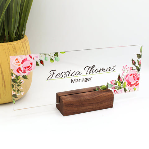 "Personalized name plate for desk Nameplate sign Modern office decor Executive desk name plate Desk name flowers roses leaves (8""x3"")"