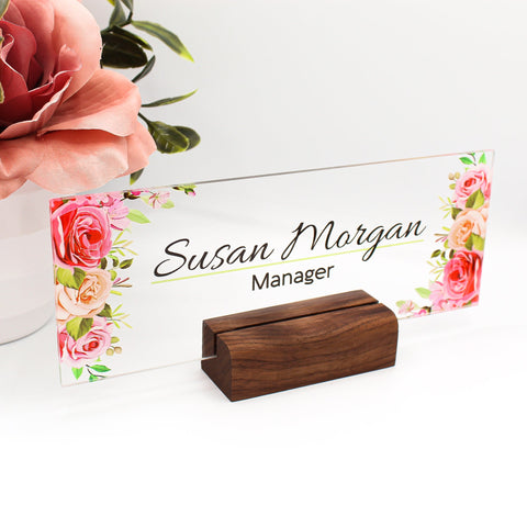 "Desk Name Plate, Custom Name Sign, Personalized Wood Desk Name, Customized Walnut Desk Name, Executive Personalized Desk Name Plate 8""x3"""