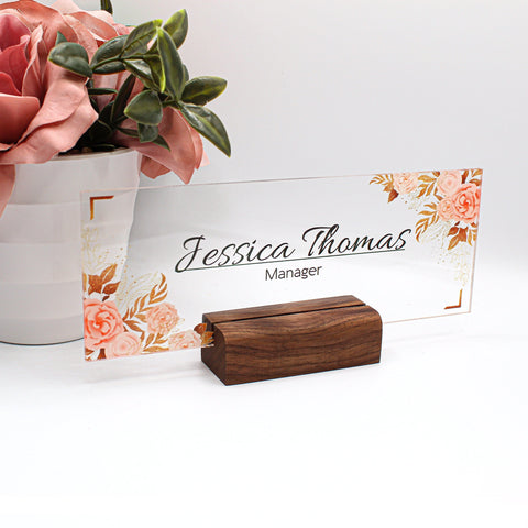 Desk Name Plate, Custom Name Sign, Personalized Wood Desk Name, Customized Walnut Desk Name, Executive Personalized Desk Name Plate