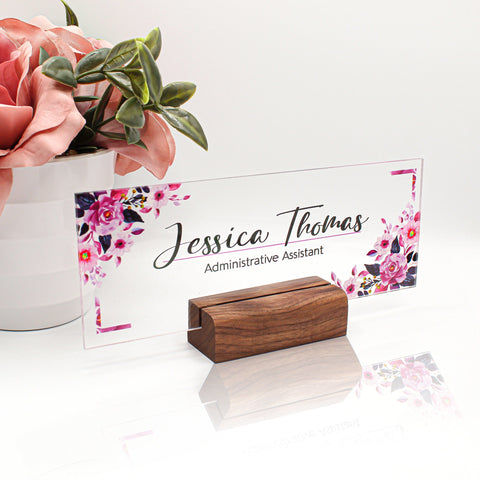 "Customizable Acrylic Desktop Name Plate Featuring Floral Design and Solid Wood Base - 8""x3"""